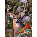 Puzzle   XXL Teile - One Deer Two Cardinals