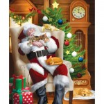 Puzzle  Sunsout-28698 Tom Wood - Santa and His Cats