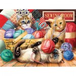 Puzzle  Sunsout-28935 Tom Wood - Kitties Fun Time