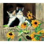 Puzzle  Sunsout-28975 Susan Bourdet - Kittens and Sunflowers