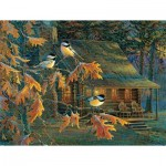 Puzzle  Sunsout-29034 XXL Teile - Cabin Chickadees