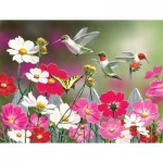 Puzzle  Sunsout-30412 XXL Teile - Cosmos and Hummingbirds