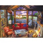 Puzzle  Sunsout-31425 XXL Teile - Evening at the Cabin