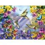 Puzzle  Sunsout-34919 XXL Teile - Butterflies & Hummingbirds