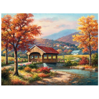Puzzle Sunsout-36608 Sung Kim - Fall at the Covered Bridge