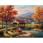 Puzzle  Sunsout-36610 XXL Teile - Covered Bridge in Fall