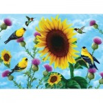 Puzzle  Sunsout-49038 Jerry Gadamus - Sunflowers and Songbirds