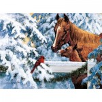 Puzzle  Sunsout-51266 D.R.  Laird - Fence Top Friends