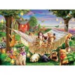 Puzzle  Sunsout-51830 XXL Teile - Kittens Puppies and Butterflies