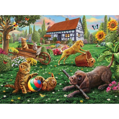 Puzzle Sunsout-51884 Adrian Chesterman - Dogs and Cats at Play