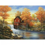 Puzzle  Sunsout-62112 John Zaccheo - Sunset at the Old Mill