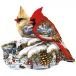 Puzzle  Sunsout-97189 Lori Schory - Winter Cardinals