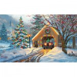 Puzzle   XXL Teile - Covered Bridge at Christmas