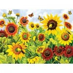 Puzzle   XXL Teile - Sunflowers and Goldfinch