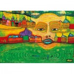 Puzzle  Art-by-Bluebird-Puzzle-60063 Hundertwasser - Irinaland over the Balkans, 1969