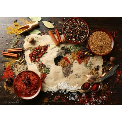 Puzzle Bluebird-Puzzle-70014 World Map in Spices