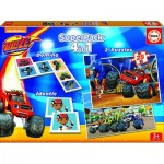 Puzzle  Educa-16853 Superpack 4 in 1 - Blaze and The Monster Machines