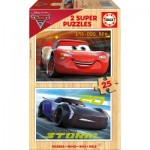 Educa-17173 2 Holzpuzzles - Cars