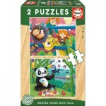 Educa-17616 2 Holzpuzzles - Tiere