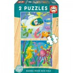 Educa-17617 2 Holzpuzzles - Wassertiere