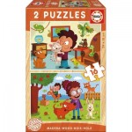 Educa-17618 2 Holzpuzzles - Haustiere