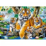 Puzzle  Castorland-13517 Tigers by the Steam