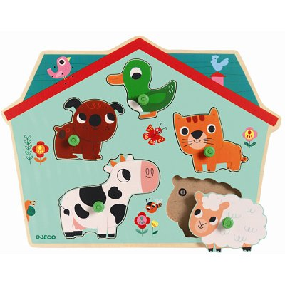 Djeco-01707 Holz-und Musical Puzzle - Ouaf Woof