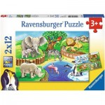 Ravensburger-07602 2 Puzzles - Tiere im Zoo