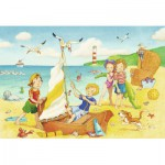 Ravensburger-08880 2 Puzzles - Kinder am Strand