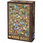 Puzzle  Dtoys-74362-VC04-VP14 Vintage Collage - Banknoten