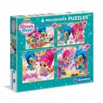 Clementoni-07715 4 Puzzles - Shimmer & Shine