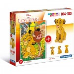 Clementoni-20158 The Lion King (Puzzle + 3D Model)