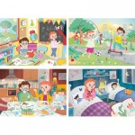 Clementoni-21306 4 Puzzles - A Beautiful Day (2x20, 2x60 Teile)