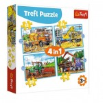 Puzzle  Trefl-34353 4 in 1 - Large Construction Machines