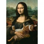 Puzzle  Trefl-37294 Mona Lisa and Purring Kitty
