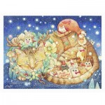 Puzzle  Pintoo-H2250 Cotton Lion - Christmas Night & Cats