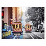 Puzzle aus Kunststoff - Cable Cars on California Street, San Francisco