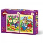 Art-Puzzle-4498 2 Puzzles - The Rabbits and The Bear Family