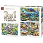 King-Puzzle-55874 3 Puzzles - Animal Collection